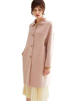 VUTOLEE Women Winter Pea Coat - Fashion Single Breasted Wool Blend Overcoat Loosen Shoulder Outwear Jacket L09