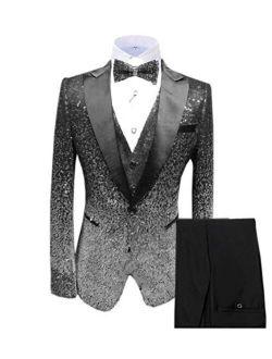 Vincent Bridal Men's Suits Shiny Sequin 3 Piece Slim Fit Tuxedo Party Blazer for Wedding Groomsmen(Jacket+Vest+Pants)