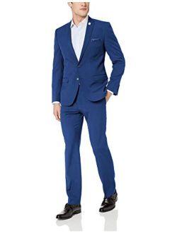 Nick Graham Men's Slim Fit Stetch Finished Bottom Suit, hot Blue, 50L