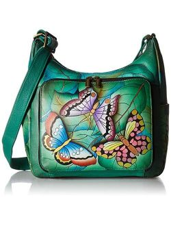 Anna by Anuschka Hand Painted Leather Women's Organizer Hobo