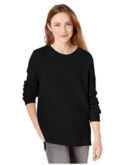 D - Goodthreads Women's Cotton Shaker Stitch Crewneck Sweater
