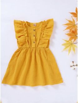 Toddler Girls Ruffle Trim Sleeveless Dress