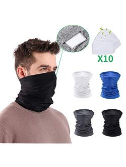 Feltom 14 Pack Neck Gaiter Cycling Scarf with Filters Face Mask Sun UV Protection Mask