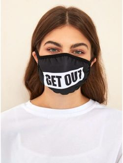 Letter Graphic Fabric Face Mask