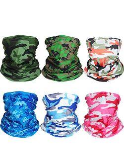 6 Pieces Summer UV Protection Face Mask Neck Gaiter Scarf Sunscreen Breathable Bandana (Color Set 4)