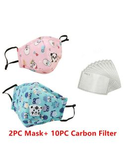 2PCS Kids Reusable Anti Pollution Face Cotton Shield with Corbon Filter