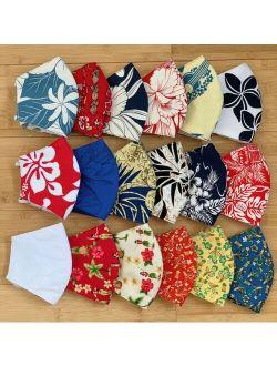 Hawaiian Print Cotton Fabric Face Mask Washable Reversible - Handmade in Hawaii