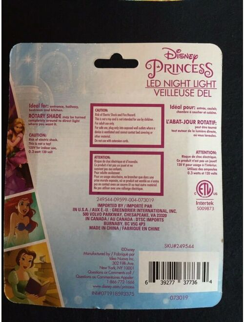 Kids Girls Child DISNEY PRINCESSES Face Mask w/Pocket PLUS Matching NIGHTLIGHT!!