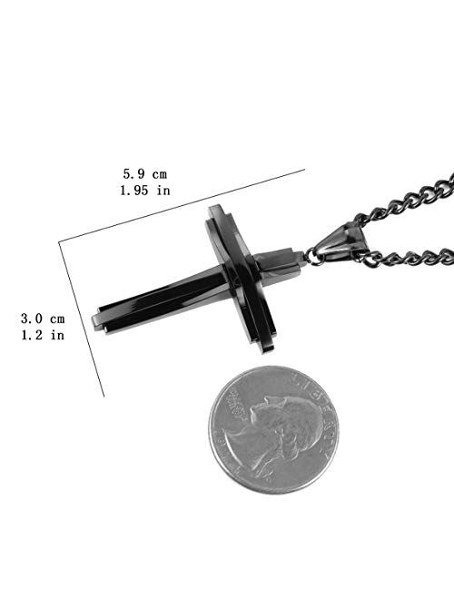 HZMAN Mens Polished Stainless Steel Silver Cross Pendant Necklace 22+2 Inches Chain