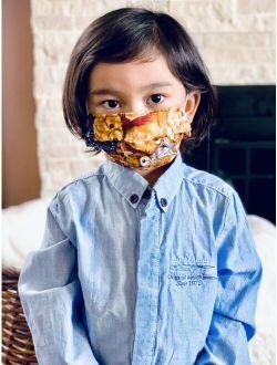 Kids Childrens Face Mask HandMade Washable Cotton Layer Girls Boy Teddy Bear