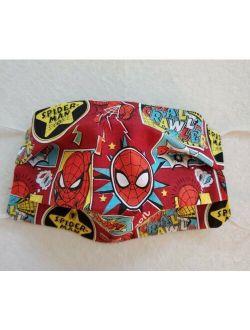 Boys Spiderman Face Mask, Filter Pocket, Reversible 2 masks in 1, 1/8in elastic