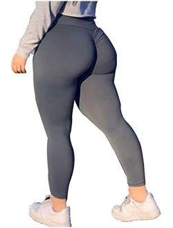 RIOJOY Booty Scrunch Butt Leggings for Women High Waist Tummy Control Yoga Pants Ruched Butt Lift Workout Tights