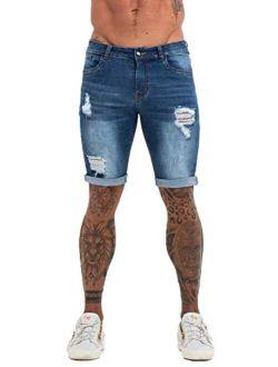 Mens Jean Shorts Ripped Denim Men Skinny Shorts Stretch Jeans Slim Fit Blue 32