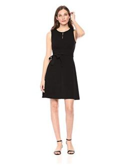 And - Lark & Ro Women's Sleeveless Crew Neck Belted A-line Dress With Pockets