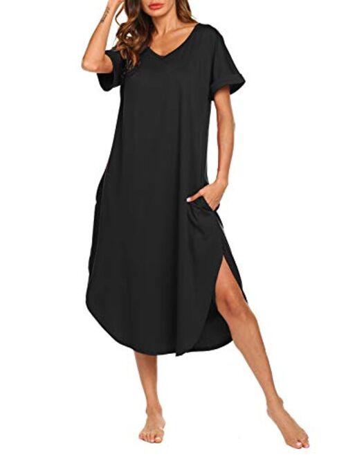 AVIIER Women's Long Nightgown Cotton V Neck Sleepwear Short Sleeve Loungewear