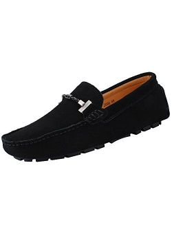 ANUFER Mens Elegant Buckle Loafers Comfort Suede Driving Shoes Stylish Moccasin Slippers
