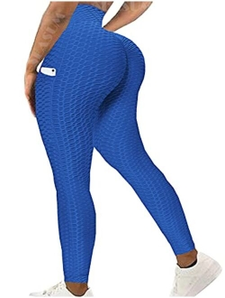 Womens Ribbed Yoga Active Leggings - High Waist Workout Butt Push Up Pants Sports Textured Stretchy Tights
