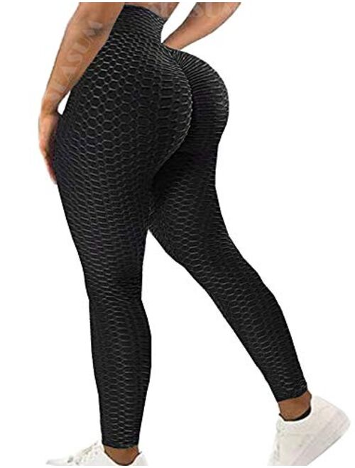 Seasum Womens Ribbed Yoga Active Leggings - High Waist Workout Butt Push Up Pants Sports Textured Stretchy Tights