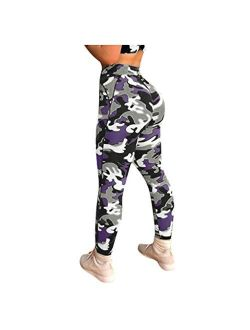 MURTIAL Women Tie-Dyed Print Scrunch Yoga Leggings, Stretch Butt Lifting Pants Sport Running Track Pants(Purple A,L)