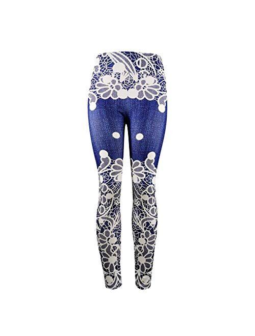 MURTIAL Women Tie-Dyed Print Scrunch Yoga Leggings, Stretch Butt Lifting Pants Sport Running Track Pants(White 10,2XL)