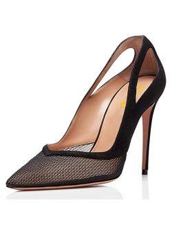 FSJ Black Mesh Pointed Toe Slip on Stiletto Thin High Heel Pumps Size 4-15 US