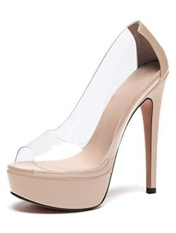 Eldof Women's Transparent Platform Clear High Heel Peep Toes