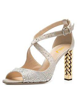 FSJ Women Chic Gold Metal Chain Block High Heels Pumps Cross Strap Closed Open Toe Shoes Size 4-15 US