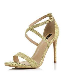 DailyShoes Women's High Heel Sandal Open Toe Ankle Buckle Cross Strap Platform Pump Evening Dress Casual Party Shoes