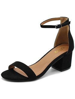 Ollio Womens Shoe Faux Suede Chunky Mid Heel Ankle Strap Heeled Sandals