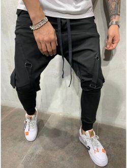 Men Flap Pocket Solid Cargo Pants