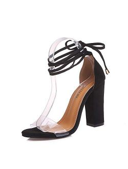 chegong Women's Gladiator Ankle Strap Lace Up Open Toe Clear Chunky High Heel Sandals