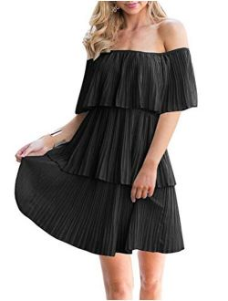 Soesdemo Women's Casual Off The Shoulder Sleeveless Tiered Ruffle Pleated Short Party Beach Dress