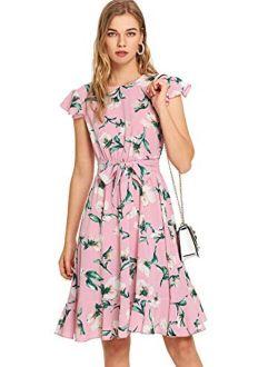 Women's Floral Print Ruffle Tie Waist Summer Chiffon Dress