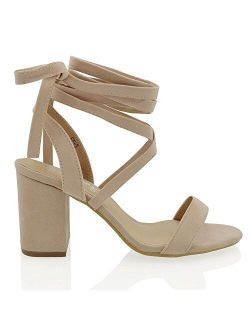 ESSEX GLAM Womens Chunky Block Low Mid Heel Lace Up Strappy Sandal Faux Suede Shoes