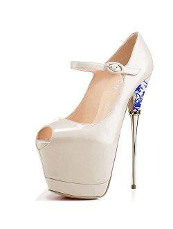 YDN Women Peep Toe Sky High Heels Platform Pumps Ankle Straps Shoes Metal Stilettos