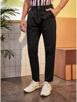 Men Solid Button Front Tapered Pants