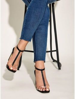 Toe Post Ankle Strap Chunky Heels