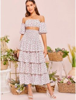 Puff Sleeve Shirred Back Bardot Top & Layered Hem Skirt Set
