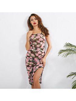 D10278 Sexy Woman strap Draped side-slit Mesh Dress rose flower prpinted S-L