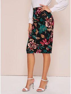 High Waist Botanical Pencil Skirt