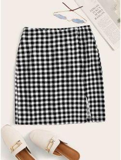 Buffalo Plaid High-Rise Mini Skirt