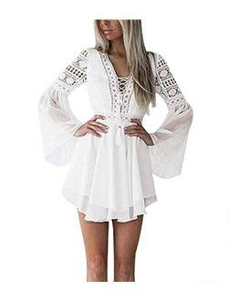 Lace Dresses for Women Boho Dress Crochet High Waisted Solid Color Elegent Ruffle Short Dress