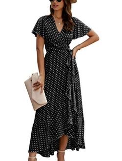 ECOWISH Women's Dresses Bohemian Wrap V Neck Short Sleeve Ethnic Style High Split Beach Maxi Dress