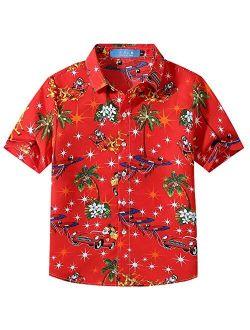 SSLR Big Boys' Funny Xmas Casual Button Down Short Sleeve Hawaiian Christmas Shirt