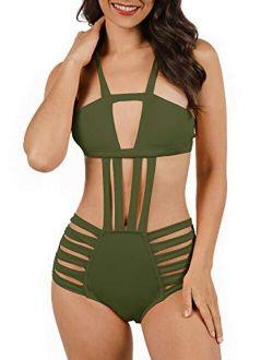 Nulibenna Women's Sexy Bandage Halter One Piece Swimsuits Cut Out Monokini Swimwear High Waist Lace Up Bathing Suit