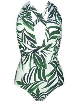 COCOSHIP Women's Surplice Neckline One Piece Bather Halter Swimsuit High Waist Cross Swimwear(FBA)