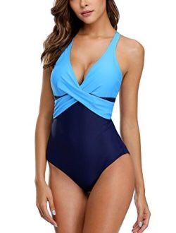ALove Womens Twist Cross One Piece Swimsuit Cross Back Colorblock Bathing Suit