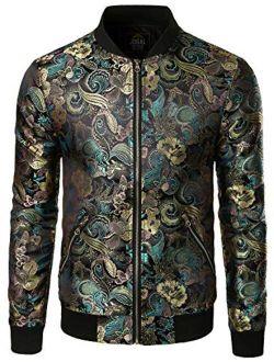 JOGAL Men's Luxury Paisley Embroidered Satin Bomber Jacket Coat