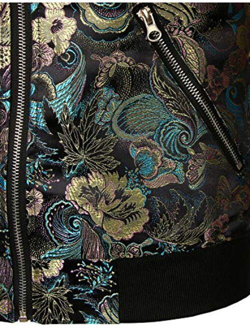 JOGAL Men/'s Vintage Embroidered Satin Flight Bomber Jackets Coat