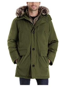 Men's Warm Parka Jacket Windproof Winter Coat Outerwear Hooded With Removable Faux Fur